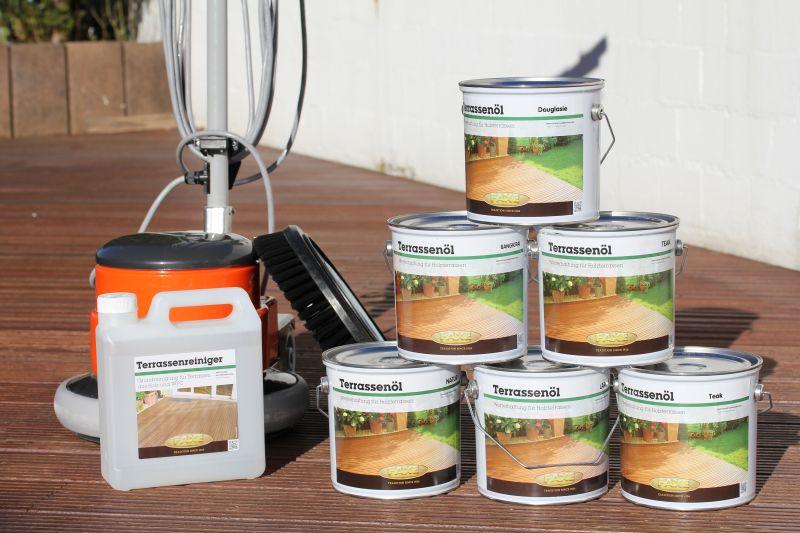 Das perfekte Terrassenset: Faxe Terrassenreiniger + Faxe Terrassenöl (gibt's in unterschiedlichen Färbungen)